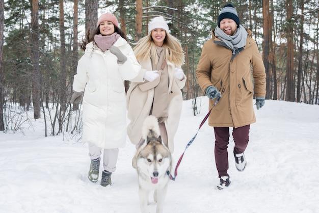 Wesołe ładne dziewczyny i młody mężczyzna biegnie po śniegu po psie husky syberyjski na smyczy podczas zabawy w parku