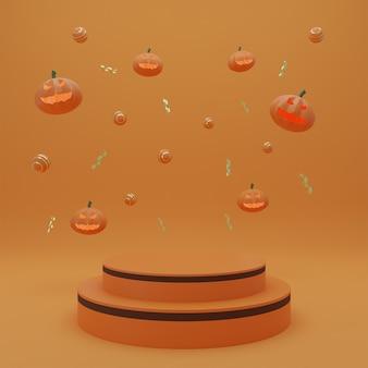 Wesołego halloween, podium prezentacji produktu concept z dyniowym duchem pomarańczowym tłem. renderowanie 3d