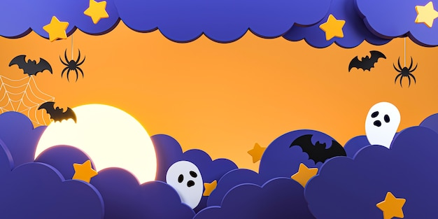 Wesołego halloween z chmurami, nietoperzem, pająkiem, duchem i gwiazdą.