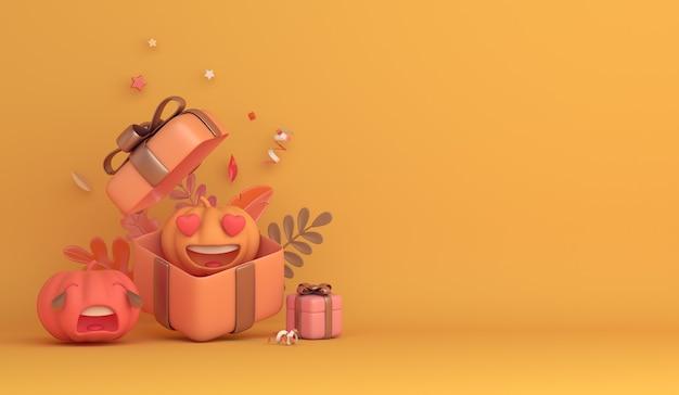 Wesołego halloween z tłem dekoracji pudełka z dyni z kreskówek