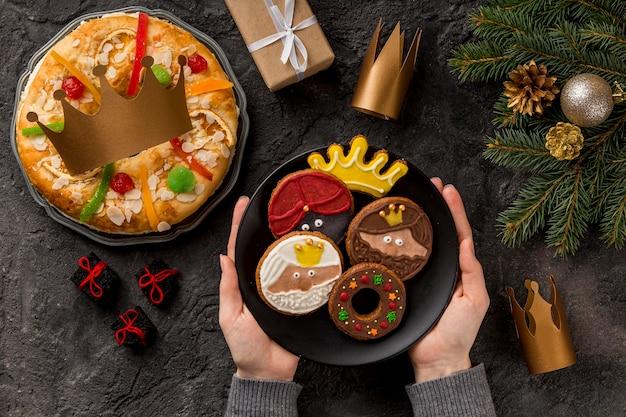 Wesołego trzech króli smaczne jedzenie