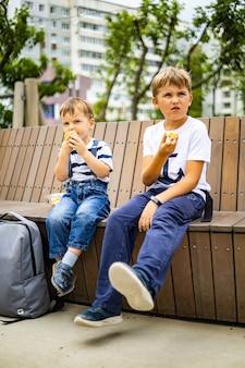 Wesoli mali bracia spacerujący po dziecięcym sportowym placu zabaw relaksujący jedzenie świeżych owoców