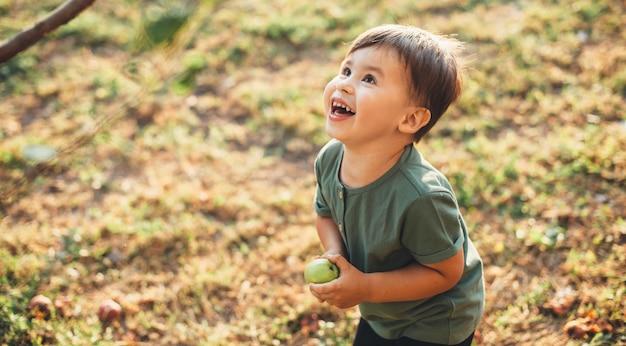 Wesoły kaukaski chłopiec trzyma jabłko i patrząc na drzewo podczas gry na polu podczas międzynarodowego dnia dziecka