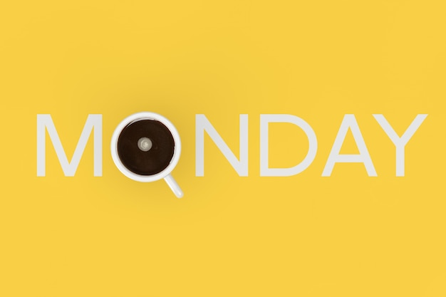 Wesoły koncepcja rano. filiżanka kawy czarnej jako poniedziałek znak na żółtym tle. renderowanie 3d