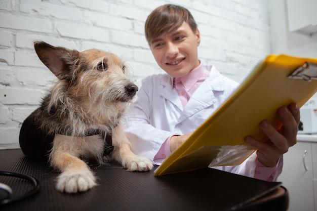 Wesoły męski weterynarz pokazuje słodkiemu psu schronisku swoje wyniki medyczne w schowku po badaniu w klinice weterynaryjnej