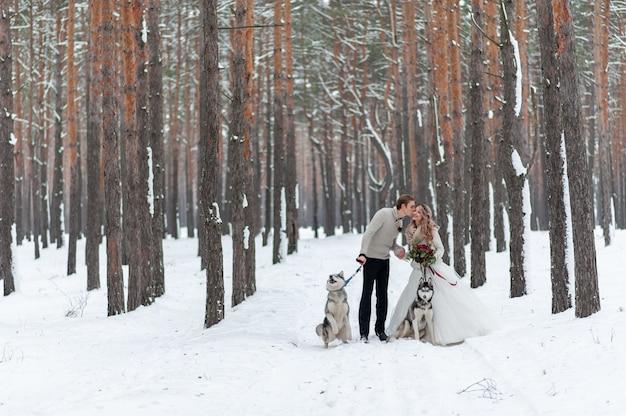 Wesoły państwo młodzi z dwoma siberian husky są pozowani na tle śnieżnego lasu.