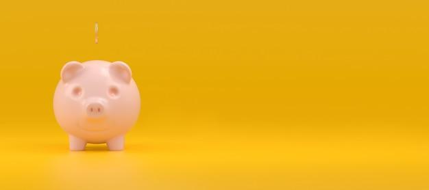 Wesoły różowy skarbonka z spadającą monetą na żółtym panoramicznym tle po lewej stronie jest puste miejsce na tekst. koncepcja oszczędzania pieniędzy. renderowania 3d.