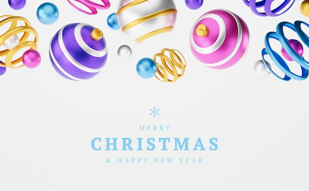 Wesołych świąt 3d kartkę z życzeniami lub ilustracja transparent. wesołych świąt i szczęśliwego nowego roku 3d renderowania karty ilustracji z kwiecistymi kulkami boże narodzenie różowy, niebieski, żółty. zimowa dekoracja świąteczna minimalistyczny design