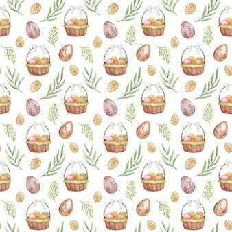 Wesołych świąt bez szwu tupot pisanki delikatne powtarzanie tła wiosna papierowy koszyk jaja