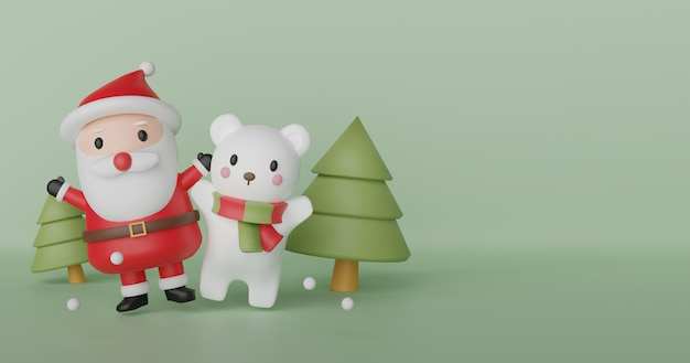 Wesołych świąt bożego narodzenia, obchodów bożego narodzenia z mikołajem i misiem polarnym