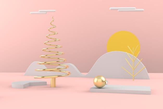 Wesołych świąt bożego narodzenia pocztówka. choinka złota. renderowanie 3d.