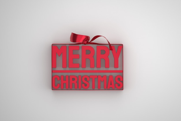 Wesołych świąt bożego narodzenia projekt 3d z kokardą i wstążką na białym tle
