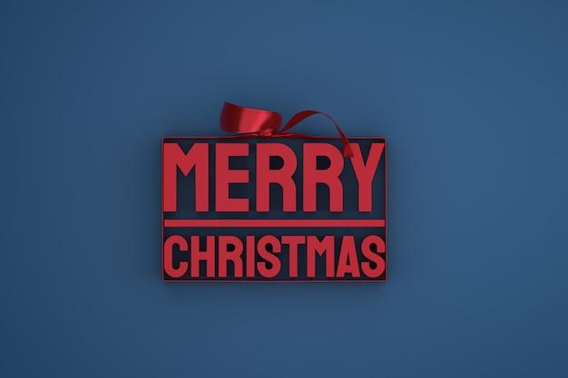 Wesołych świąt bożego narodzenia projekt 3d z kokardą i wstążką na ciemnym tle