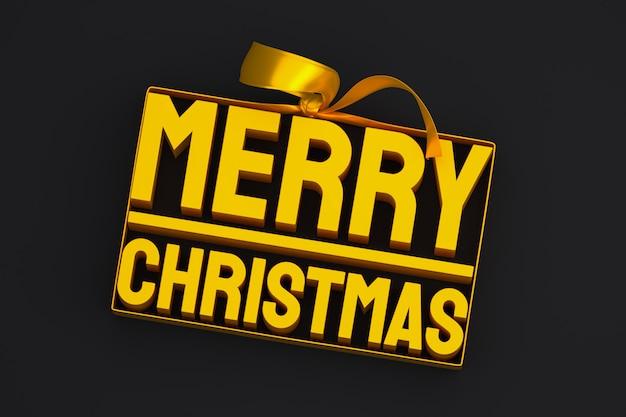 Wesołych świąt bożego narodzenia projekt 3d z kokardą i wstążką na czarnym tle