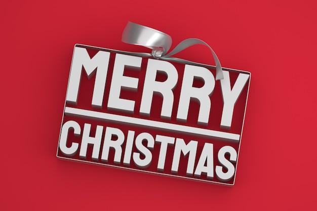 Wesołych świąt bożego narodzenia projekt 3d z kokardą i wstążką na czerwonym tle