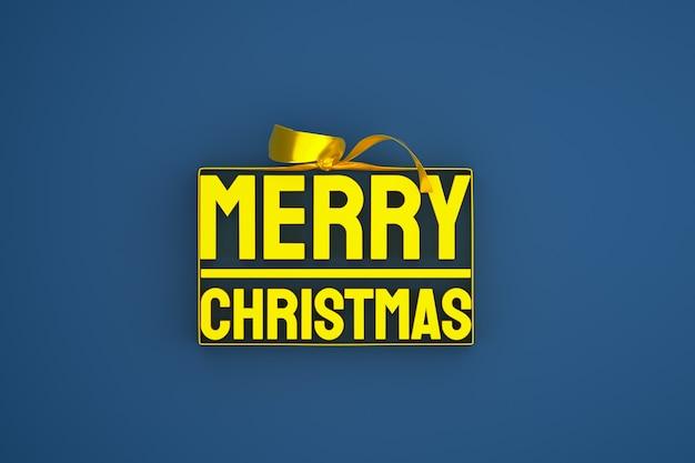 Wesołych świąt bożego narodzenia projekt 3d z kokardą i wstążką na niebieskim tle