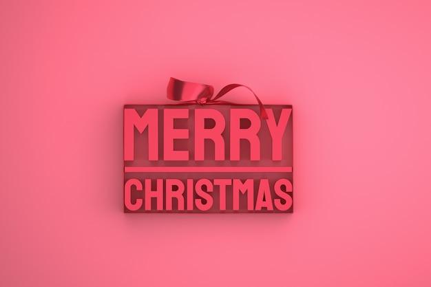 Wesołych świąt bożego narodzenia projekt 3d z kokardą i wstążką na różowym tle