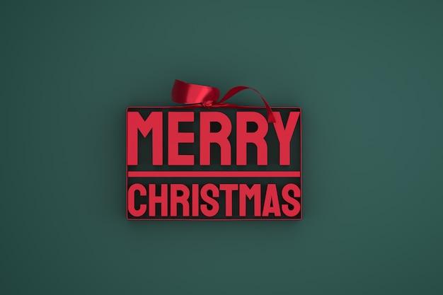 Wesołych świąt bożego narodzenia projekt 3d z kokardą i wstążką na zielonym tle