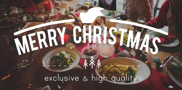 Wesołych świąt bożego narodzenia uczta jedzenie