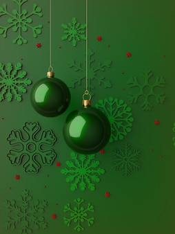 Wesołych świąt bożego narodzenia zielona karta 3d złota dekoracja xmas
