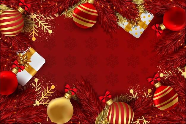 Wesołych świąt czerwone tło z dekoracją świąteczną 3d