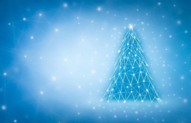 Wesołych świąt i nowego roku projekt z choinką low poly. kartka świąteczna wykonana za pomocą punktów i linii.