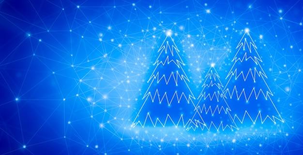 Wesołych świąt i nowego roku projekt z niebieskimi choinkami low poly. kartka świąteczna wykonana za pomocą punktów i linii.
