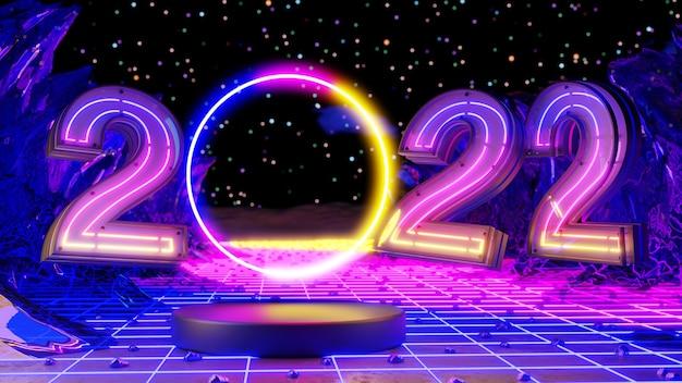 Wesołych świąt i szczęśliwego nowego roku 2022. streszczenie minimalistyczny design, neonowe choinki, pudełko, pusty okrągły realistyczny etap, podium. renderowania 3d.