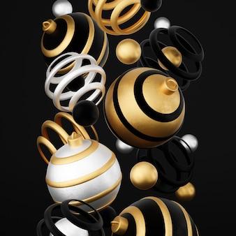 Wesołych świąt i szczęśliwego nowego roku 3d render ilustracja karta z kwiecistymi złotymi, czarnymi i srebrnymi bombkami i dekoracjami. zimowa dekoracja, minimalistyczny design