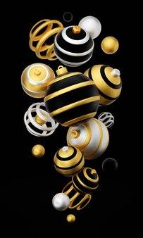 Wesołych świąt i szczęśliwego nowego roku 3d renderowania pionowej ilustracji karty z kwiecistymi złotymi, czarnymi i srebrnymi bombkami i dekoracjami. zimowa dekoracja, minimalistyczny design