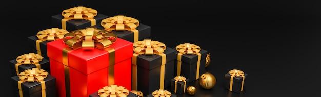 Wesołych świąt i szczęśliwego nowego roku banner luksusowy styl., realistyczne czerwone i czarne pudełko na prezenty ze złotymi bombkami