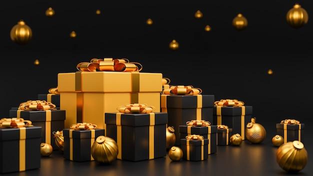 Wesołych świąt i szczęśliwego nowego roku banner luksusowy styl., realistyczne złote i czarne pudełko na prezenty ze złotymi bombkami