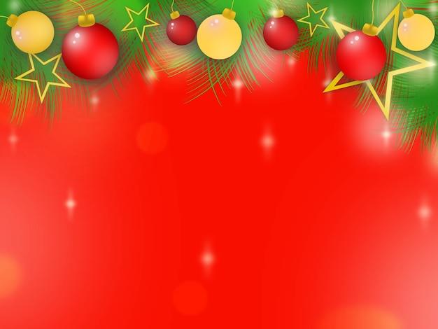 Wesołych świąt i szczęśliwego nowego roku girlanda z motywem czerwonych i złotych kulek gwiazda i światło