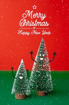 Wesołych świąt i szczęśliwego nowego roku kartkę z życzeniami z drzewa xmas z uśmiechem twarz emocja doodle dekoracji
