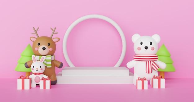 Wesołych świąt i szczęśliwego nowego roku, obchodów świąt z reniferem, podium dla niedźwiedzia polarnego dla produktu. .