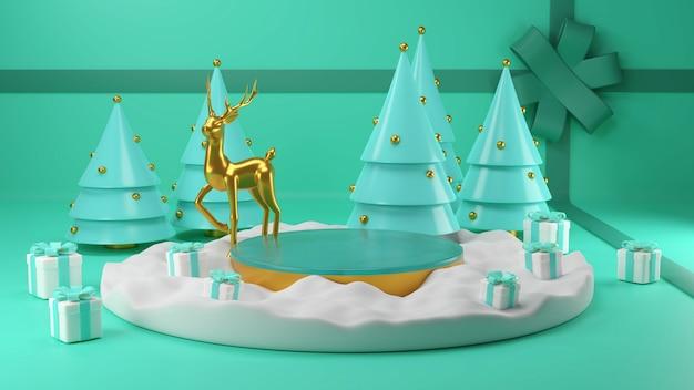 Wesołych świąt i szczęśliwego nowego roku, pudełko, pusta runda realistyczna scena, podium. zimowe wakacje tło. nagłówek strony lub baner