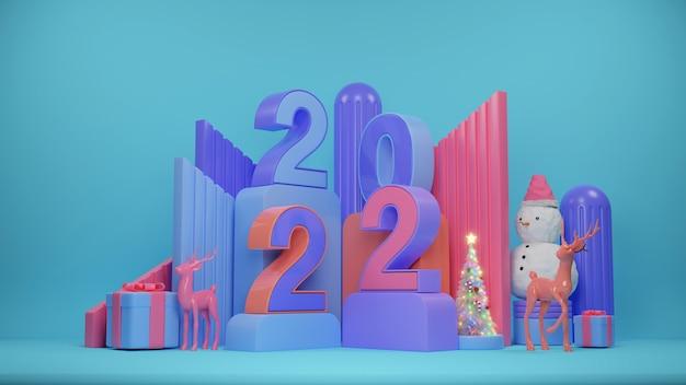 Wesołych świąt i szczęśliwego nowego roku. streszczenie minimalistyczny design, geometryczne choinki, pudełko na prezenty, pusty okrągły realistyczny etap, podium. renderowania 3d.