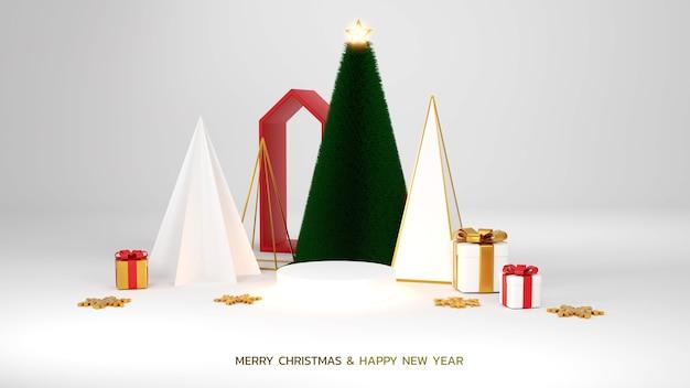 Wesołych świąt i szczęśliwego nowego roku. streszczenie minimalistyczny design, geometryczne choinki, pudełko na prezenty, pusty okrągły realistyczny etap, podium. zimowe wakacje tło. nagłówek lub baner strony