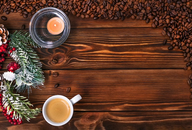 Wesołych świąt i szczęśliwego nowego roku tło dla miłośników kawy.