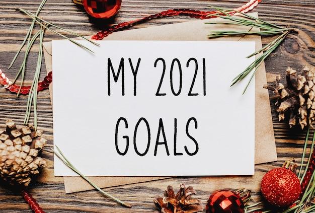 Wesołych świąt i wesołego nowego roku notes z tekstem moje cele na 2021 rok
