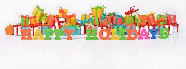 Wesołych świąt kolorowy tekst na tle różnokolorowych prezentów