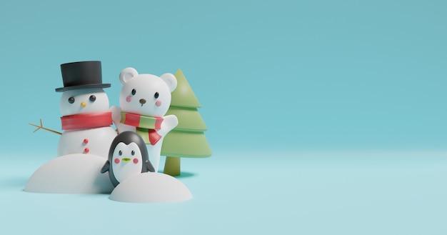 Wesołych świąt, obchodów bożego narodzenia z bałwanem i niedźwiedziem polarnym. .