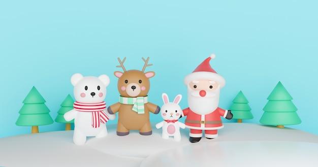 Wesołych świąt, obchodów bożego narodzenia z mikołajem i przyjaciółmi na kartkę świąteczną, tło świąteczne i baner. renderowanie 3d.