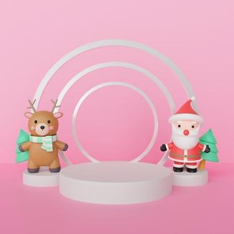 Wesołych świąt, obchodów bożego narodzenia z mikołajem i reniferem z podium dla produktu. renderowanie 3d.