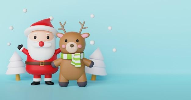 Wesołych świąt, obchodów bożego narodzenia z mikołajem i reniferów na kartki świąteczne, tło boże narodzenie i baner .