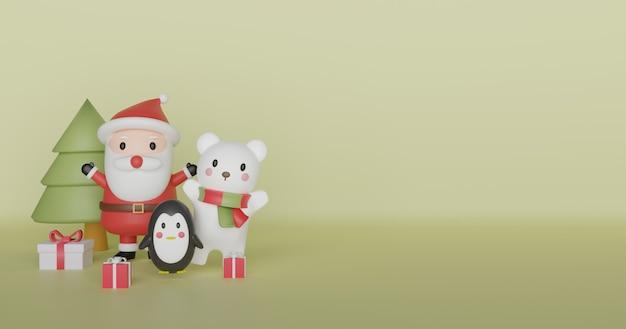 Wesołych świąt, obchodów bożego narodzenia z mikołajem, pingwina i niedźwiedzia polarnego na boże narodzenie i transparent. .