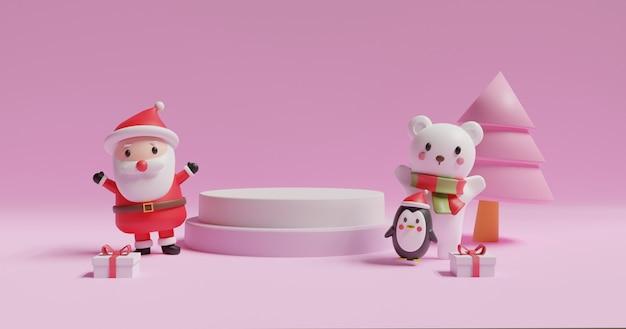 Wesołych świąt, obchodów bożego narodzenia z mikołajkiem i niedźwiedzia polarnego z podium dla produktu. .