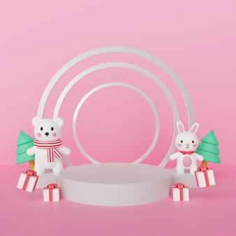 Wesołych świąt, obchodów bożego narodzenia z niedźwiedziem polarnym i królikiem z podium dla produktu. renderowanie 3d.