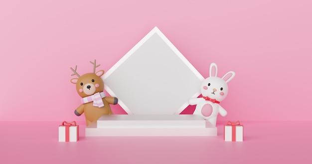 Wesołych świąt, obchodów bożego narodzenia z reniferem i królikiem z podium dla produktu. renderowanie 3d.