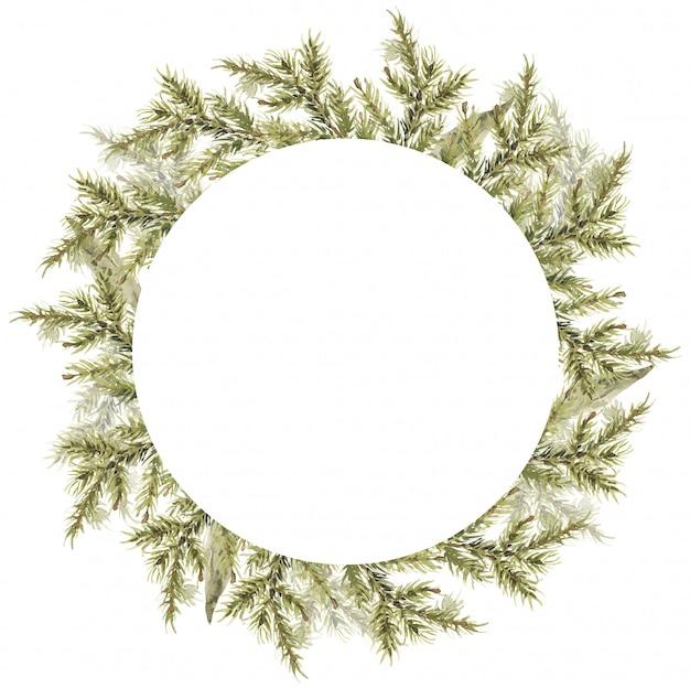 Wesołych świąt skład wieniec zimowa okrągła rama